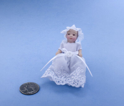 1/12 Scale Dollhouse Miniature Porcelain Baby Doll Dressed in White Gown #S5655