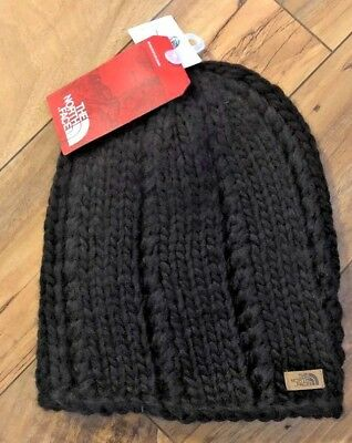 Women s The North Face Chunky Hand Knit Black Beanie Winter Hat New 582302bc122b