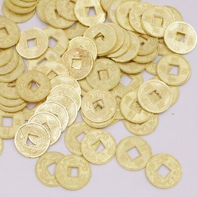 100 PCS Lot Replica Chinese Qing Dynasty 14mm Golden Color Coins Feng Shui