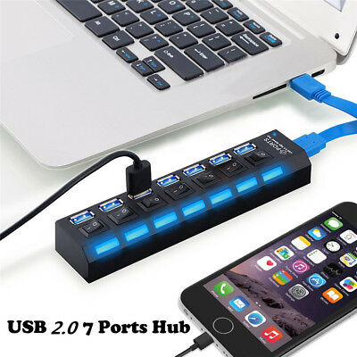 7-Port USB 2.0 Hub with High Speed Adapter ON/OFF Switch for Laptop PC Simple