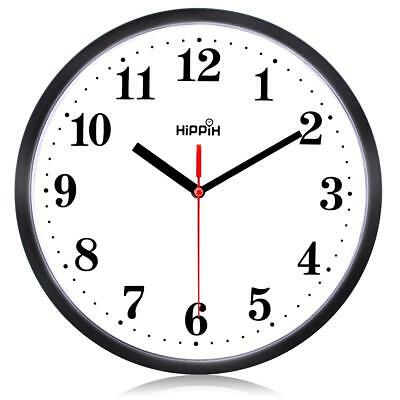 Black Wall Clock Silent Non Ticking Quality Quartz by Hippih, 10 Inches Round
