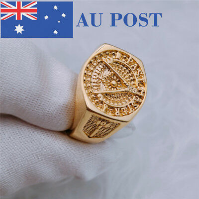 18K Gold Plated Antique Vintage Style Gold Color Men's Engraved Cool Design Ring