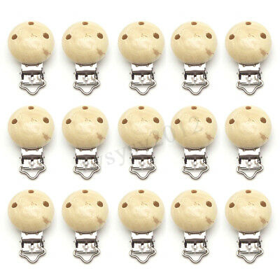 15Pcs Wooden Suspender Soother Pacifier Holder Safe Dummy Clips For Babies