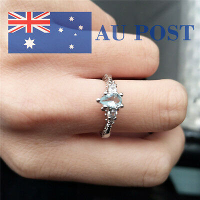 Fashion Women Crystal Silver Plated Birthday Party Wedding Ring Jewelry Gifts