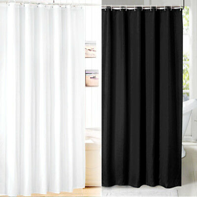 Fabric Shower Curtain Plain White/Black With Weighted Hem & With 12 Hooks Rings