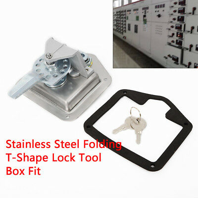 Sliver Stainless Steel Electrical Cabinet T-Shape Lock with Four Mounting Holes