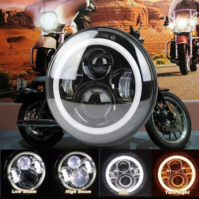 "7"" Motorcycle Halo Angel Eye LED CREE Headlight Projector Daymaker For Harley"