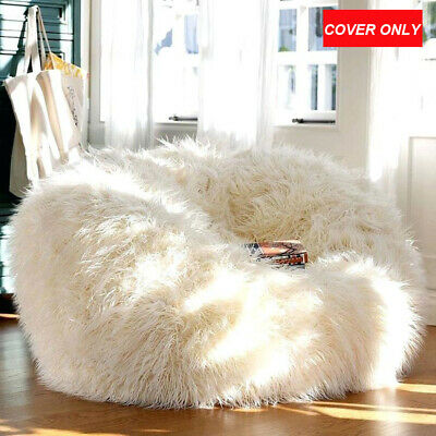 Luxury Large Faux Fur Bean Bag Chairs for Kids Adults Fluffy Beanbag Cover  Plush c7198f2141328