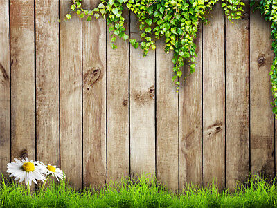 Spring Daisy Grass Wood Fence 10X8FT Vinyl Background Photography Backdrop Props