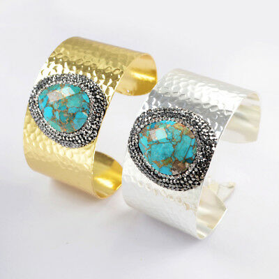 1Pcs Gold Silver Plated CZ Paved Natural Turquosie Cuff Bracelet Bangle HJA933