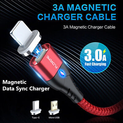 Floveme 3A Magnetic Type-C Micro USB Fast Data Sync Charging Charger Cable 1M