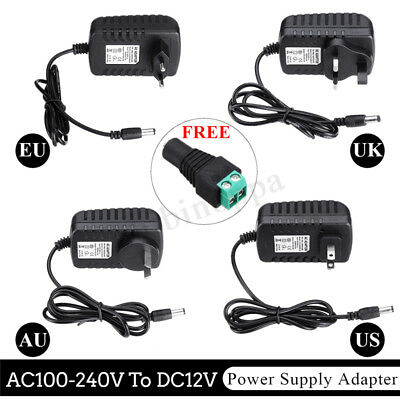 AC100-240V To DC12V 2A EU/US/AU/UK Plug Power Supply Adapter+DC Female Connector