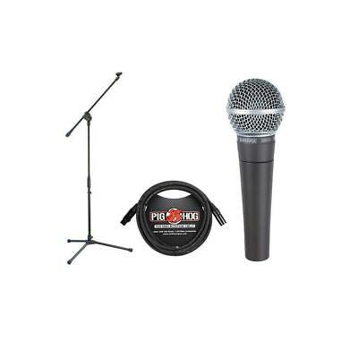 Shure SM58-LC Cardioid Handheld Wired Microphone With On-Stage MS7701 Boom Stand
