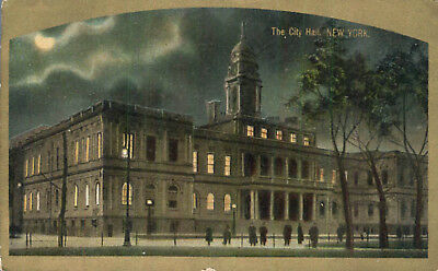 Night View City Hall  New York City 1910 Postcard Architecture