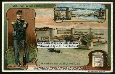 Brest France Sea Port And Army Soldier c1907 Trade Ad Card