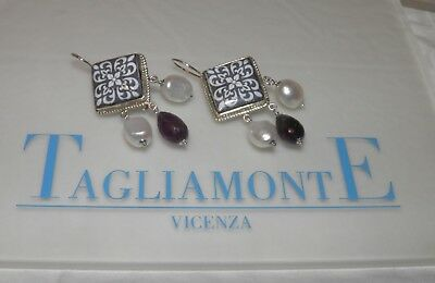 TAGLIAMONTE(959)Earrings*SS925*Sicilian Lavastone+Faceted Amethyst+Pearls