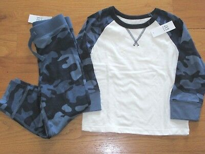 95c9506c3 NWT BABY GAP Boy s L S Blue Camo T-Shirt Cotton Jogger Pants Outfit ...