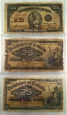 3 Dominion Of Canada 25 Cent Notes 1900 (2) & 1923 (1)