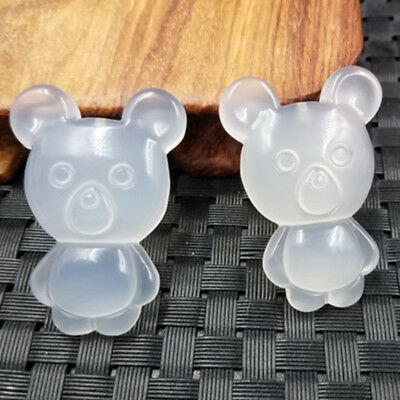 Amulet 100% Natural jade agate Pendant White  Little bear Cartoon jewelry