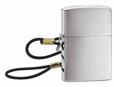 """Zippo """"Loop & Lanyard-Lossproof"""" Brushed Chrome Finish Lighter, Full Size, 275"""