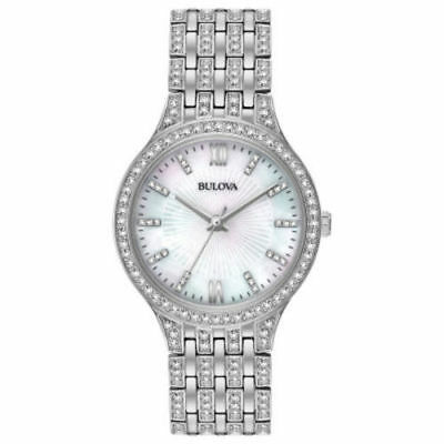 Bulova Crystal Mother of Pearl Dial Women's Watch - Silver (96L242)
