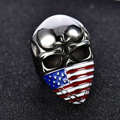 Fashion Mens American Flag Gothic Punk Skull Mask Motorcycle Rings Jewellery