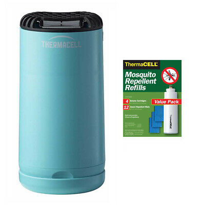 Thermacell Patio Shield Mosquito Repeller (Blue) and 48-Hour R-4 Refill Pack