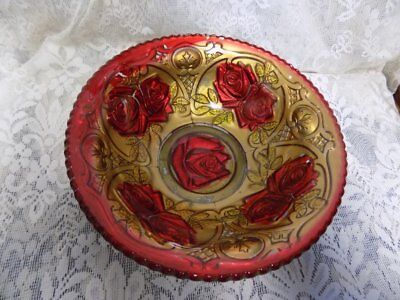 """Antique Glass Bowl~Goofus Glass~Red Roses/Gold Backing~9"""" X 3"""""""