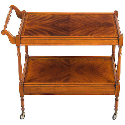 Antique Style Mahogany Two Tier Tea Bar Cart Serving Trolley w Drawer on Wheels