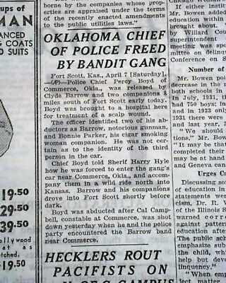 Outlaws Duo BONNIE Parker AND CLYDE Barrow Murder & Abduction 1934 Old Newspaper