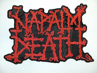napalm death red   shaped  logo  EMBROIDERED BACK PATCH