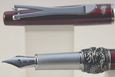 Jinhao Y2 Lacquered Translucent Dark Red Fine Fountain Pen with Dragon Band