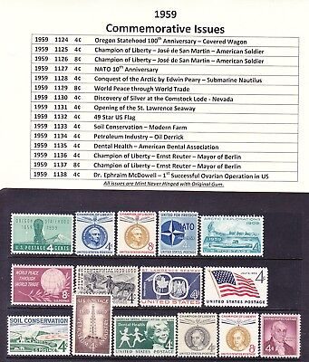 1959 Year Commemorative Postage Stamp Full Year Set Mint Never Hinged