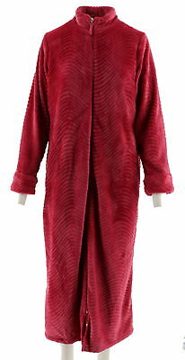21e700a9b4 Stan Herman Tall Silky Plush Trimmed Wave Long Zip Robe Rose 3X NEW A294386