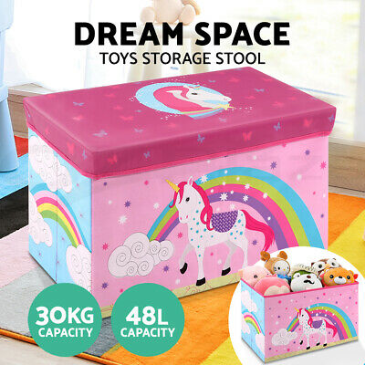 Cartoon Storage Toy Box Book Tool Organiser Kids Chair Chest Seat Foldable Pink