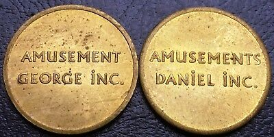 Lot of 2x Vintage Amusement George / Daniel Inc Tokens - Free Combined Shipping