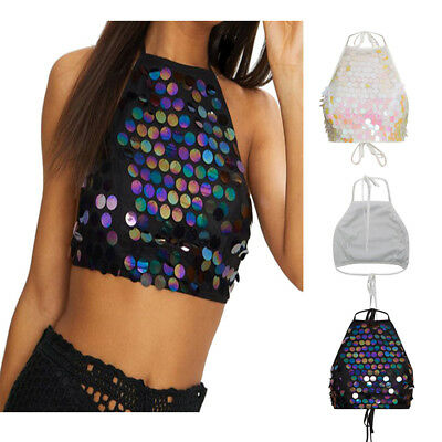 a8646e968ed69 Womens Sexy Crop Tops Backless Bralette Body Sequin Summer Bralet Vest UK LM