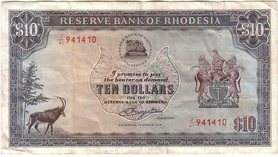 Rhodesia 10 Dollars Banknote 11-03-1976 J/41 Pick 37 EF Condition