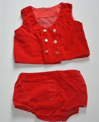Vintage Baby Boy Holiday Christmas Red Velvet 2 Piece Outfit  12 Months No Tag