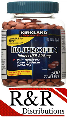 Kirkland Ibuprofen 200mg 500 - 5000 Tablets - Advil Generic NSAID Pain Reliever