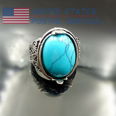 Ring Oval Retro Silver Plated Natural Turquoise Wedding Engagement Women Gift