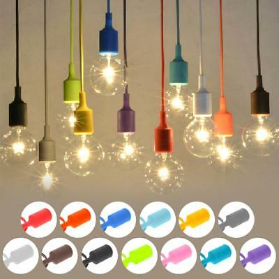 E27 75mm Silicone Rubber Ceiling Rope Cord Pendant Lamp Holder Bulb Socket ^@^