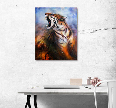Howling Tiger Animal Art on Canvas Abstract Painting Wall Art Photo Print Decor