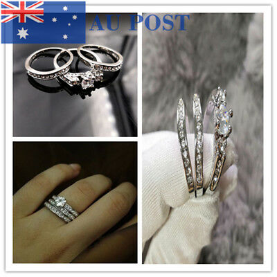 925 Silver Plated White Filled Inlay Rhinestone Wedding Engagement Ring Set New