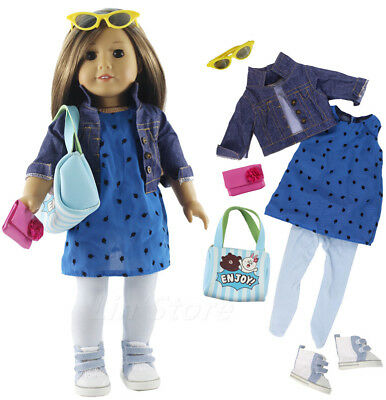 1 Set Outfit Doll Clothes+Glasses+Shoes+Tights+Bag For American Girl Many Style