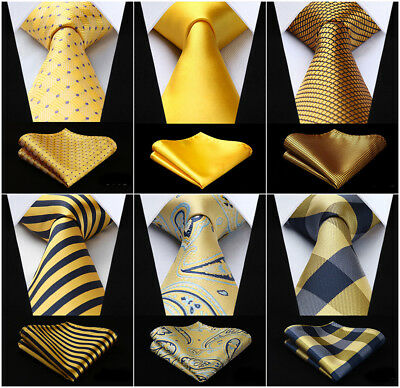 20 Style Silk Ties Checks Striped Yellow Gold Men's Necktie Handkerchief Set