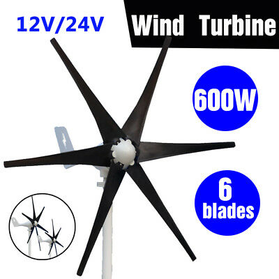Max 600W 12/24V 6 Nylon Fiber Blades Wind Turbine Generator Power Waterproof