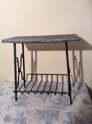 Vintage French Painted Wooden & Wrought Iron Side Table, Magazine Rack (959)