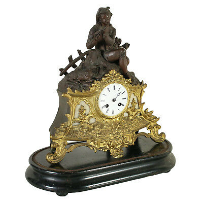 Table Clock Gilded Bronze White Marble France Late 1800s