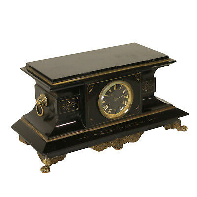 Mantel Clock Black Marble Gilded Bronze Manufactured in France End of 1800